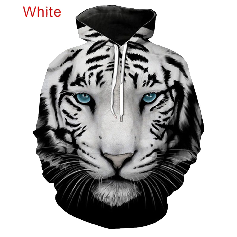 Large Size 3D Black White Tiger Printing Hooded Sweatshirts for Men Women Lovers Black and white tiger_2XL