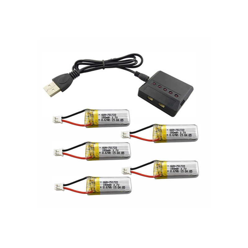 5PCS 3.7V 180mah Lithium Battery with 5 in 1 Charger for A20 A20W Remote Control Helicopter Spare Parts as shown