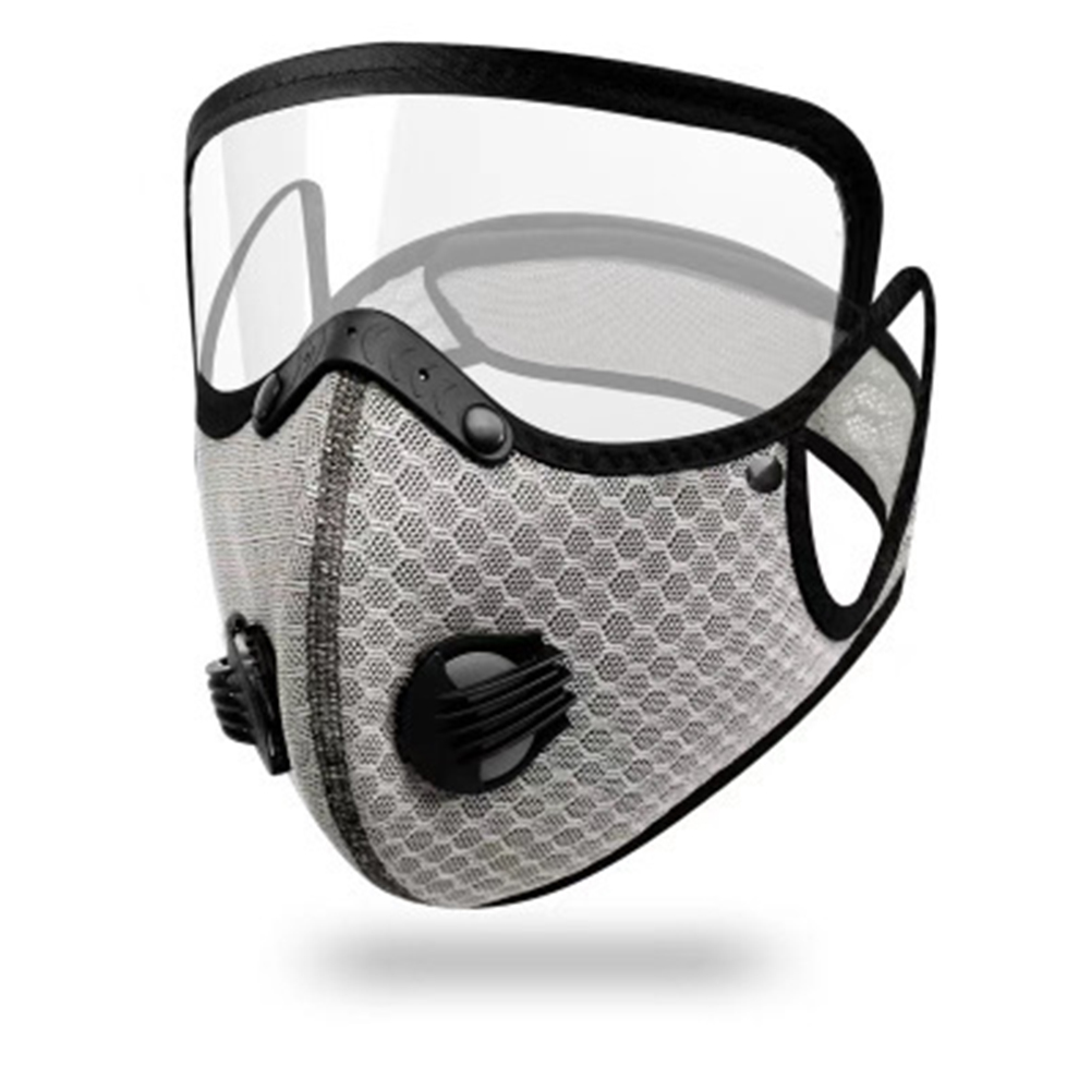 Cycling  Face  Mask Goggles Mask Outdoor Anti-fog Dust-proof Breathable Mask Light gray (with eye mask)