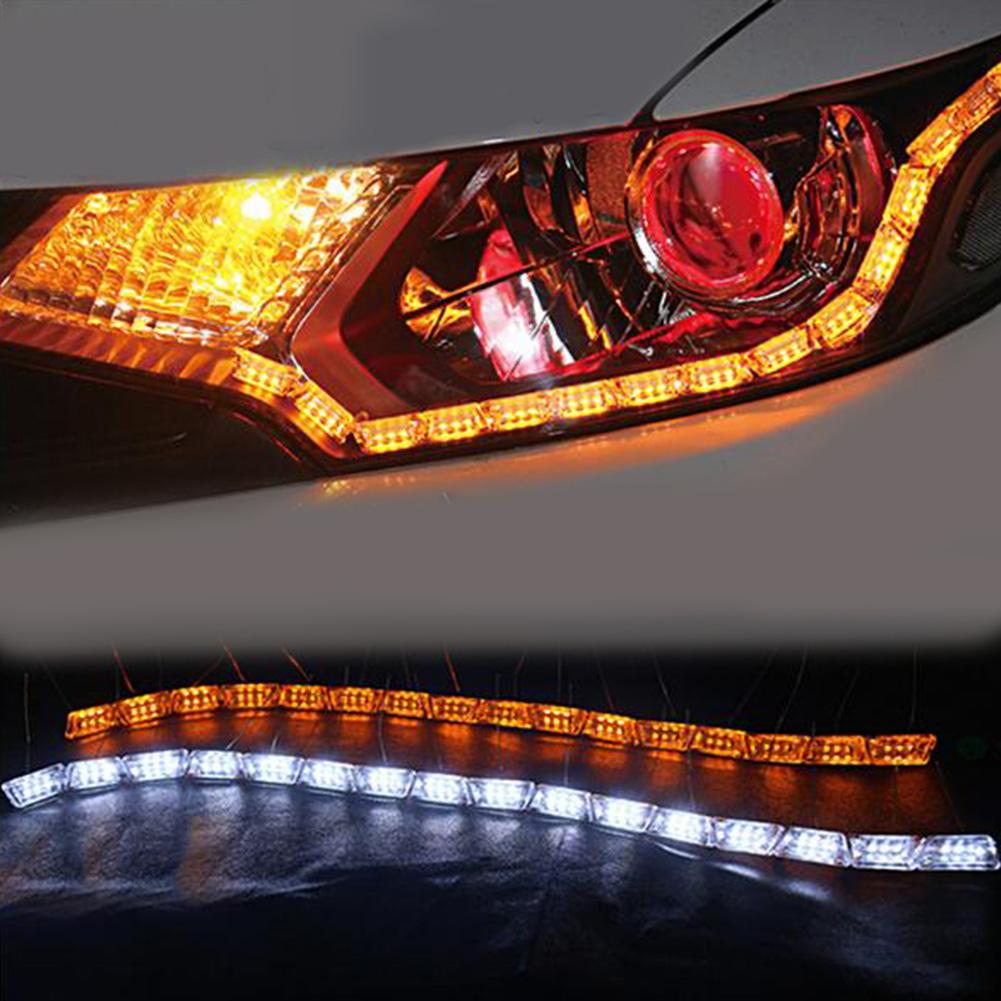2pcs Flexible LED Strip Light DRL Daytime Running Light Waterproof Sequential Flow Headlight Runners Corner Turn Signal DRL As shown_14 lights (43cm