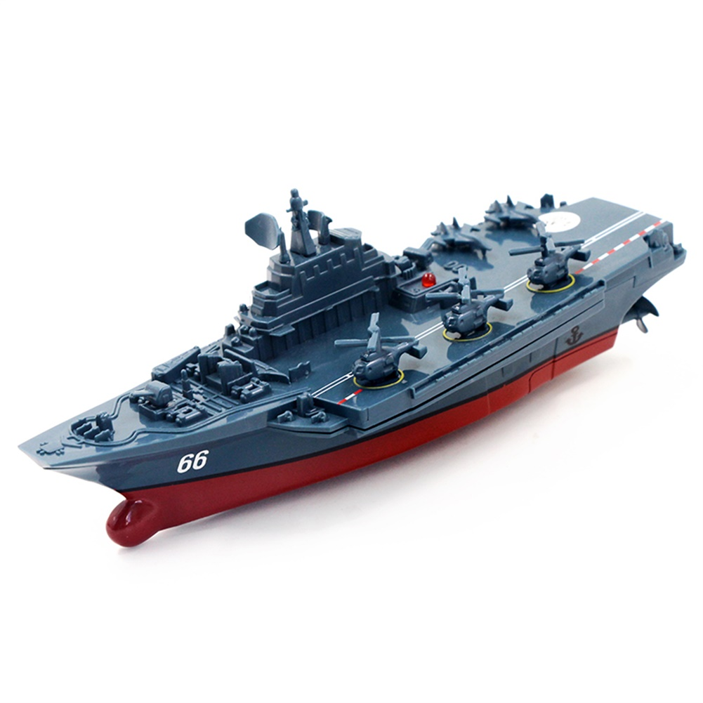 2.4G Remote Control Military Warship Model Electric Toys Waterproof Mini Aircraft Carrier/Coastal Escort Gift for Kids  Dark gray Aircraft Carrier