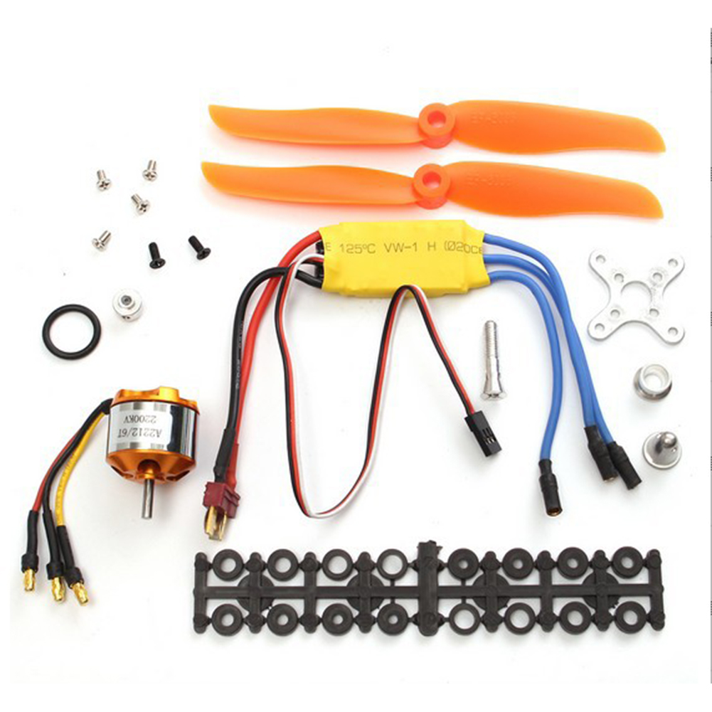 D2212/2200KV Brushless Motor with Mount for Aircraft Airplane 30A ESC Yellow