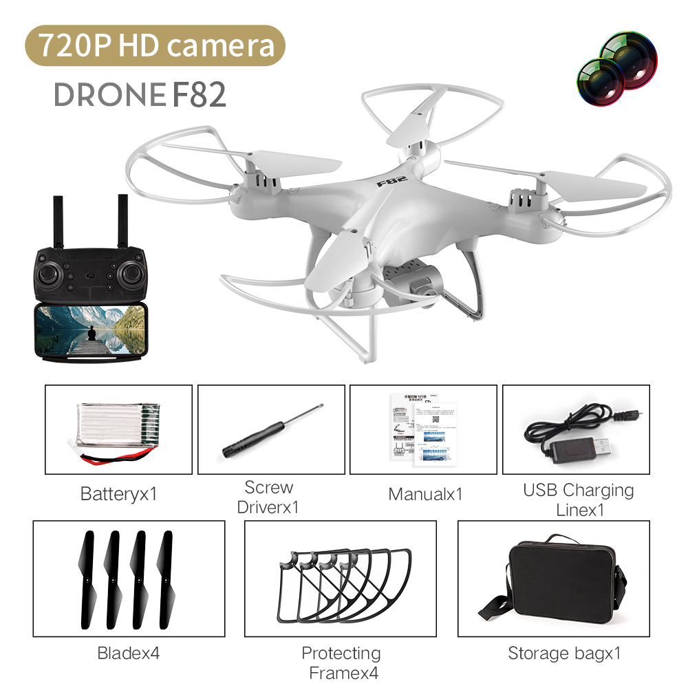 F82 Drone Long Endurance 20 Minutes 4k Dual-camera Real-time Image Transmission Aircraft Fixed Altitude Rc Aircraft White dual camera 720P