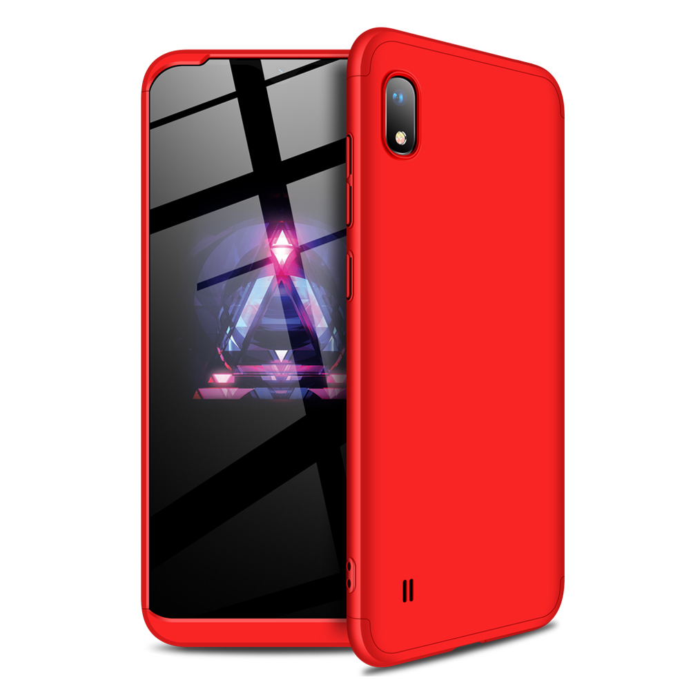 [Indonesia Direct] For Samsung A10 Ultra Slim PC Back Cover Non-slip Shockproof 360 Degree Full Protective Case red