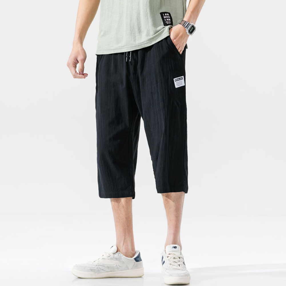 Men's Casual Pants Summer Large Size Casual Cotton and Linen Cropped Sports Pants Black _L