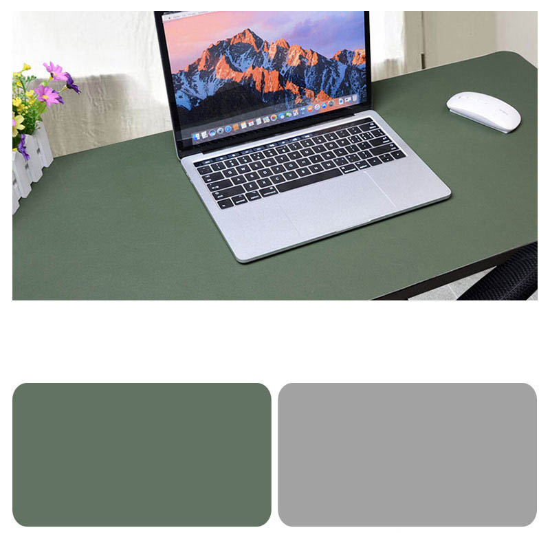 Double Sided Desk Mousepad Extended Waterproof Microfiber Gaming Keyboard Mouse Pad for Office Home School Army Green + Light Gray_Size: 90x40