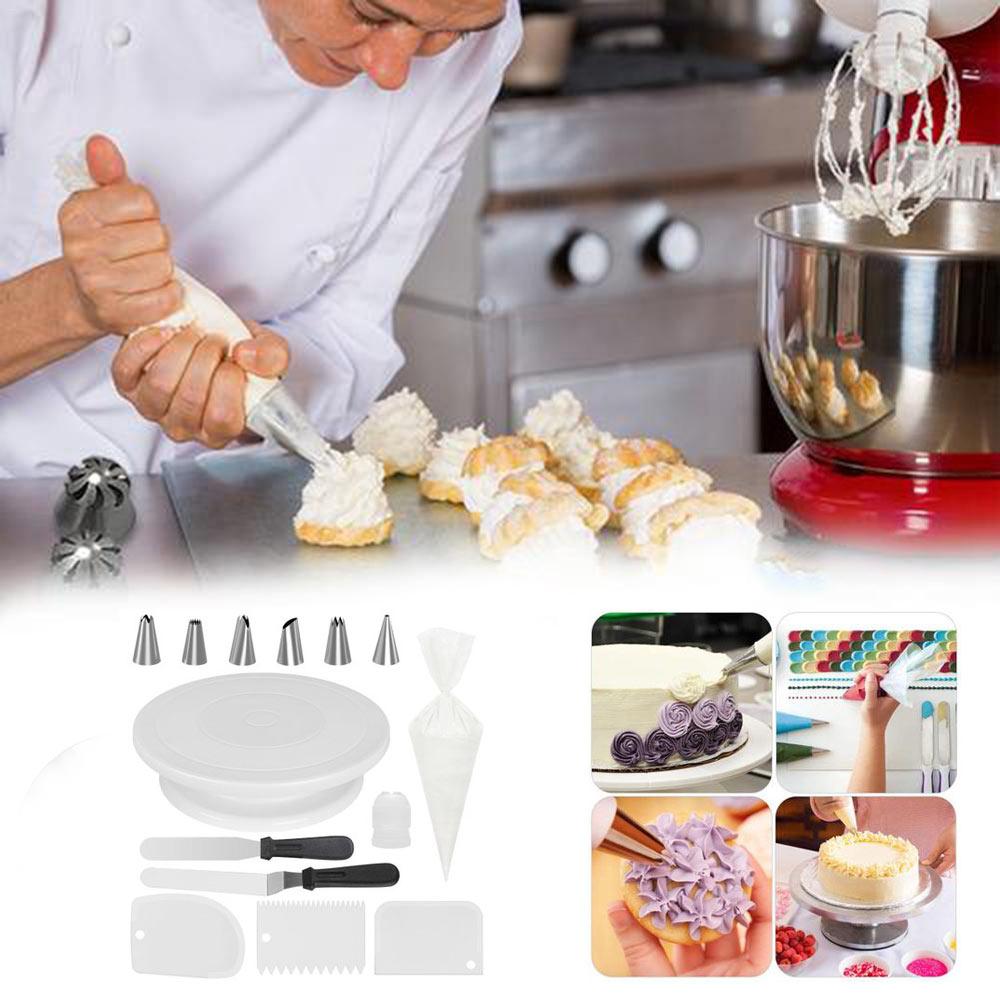 63PCS Cake Nozzles Piping Bag Scraper Board Nail Set Cake Turntable Decorative Mounting Patterns Tool Silver