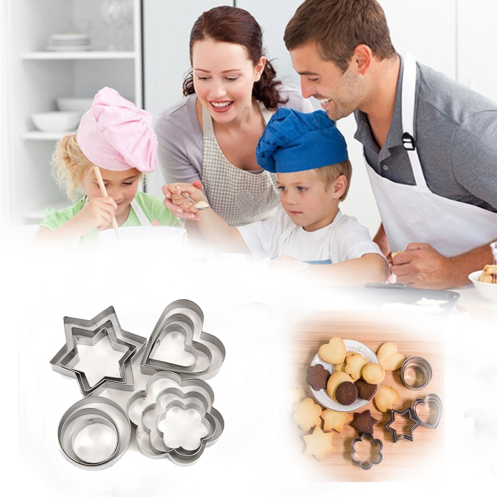 3pc/set Stainless Baking Moulds Biscuit DIY Star Heart Cutter Baking Pastry As shown