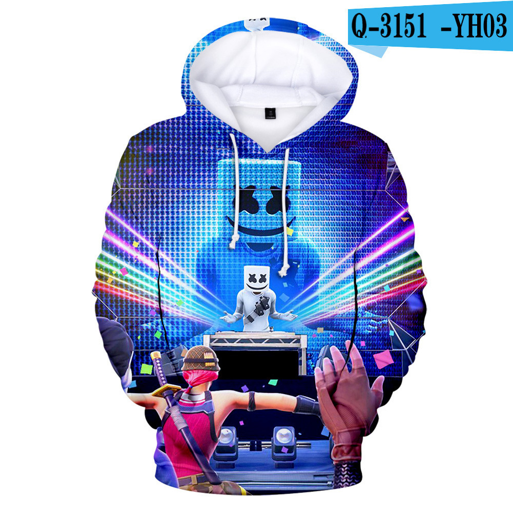 Men Women DJ Marshmello 3D Print Small Happy Face Long Sleeve Sport Hoodies Sweatshirt Q-3151-YH03 H style_L