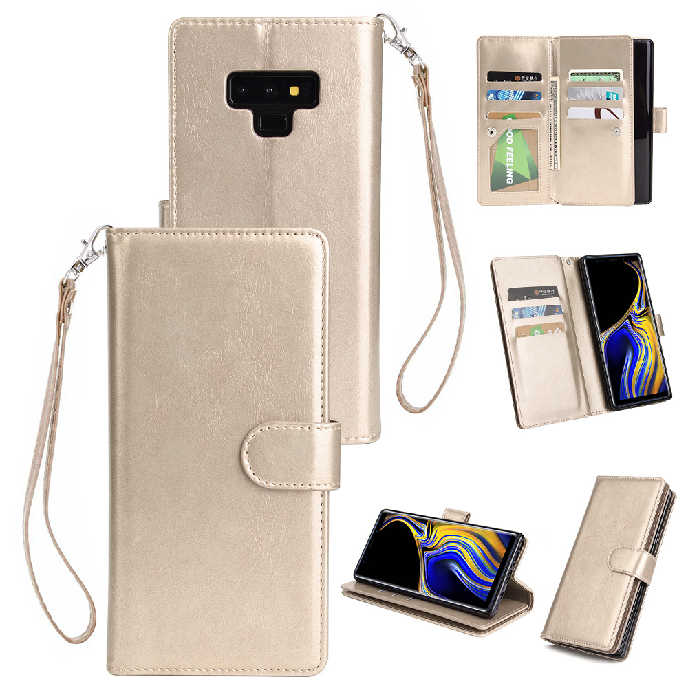 For Samsung Note 9 PU Full Protective Cover with 9 Card Slot Lanyard Bracket Buckle gold