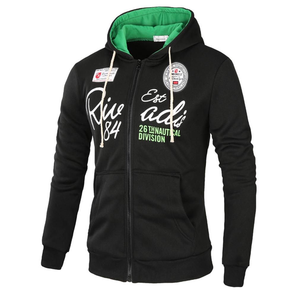 Men's Sweatshirts Letter Printed Long-sleeve Zipper Cardigan Hoodie Black _2XL