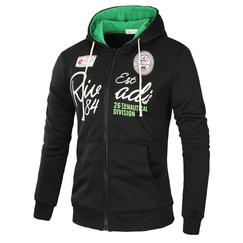 Men's Sweatshirts Letter Printed Long-sleeve Zipper Cardigan Hoodie Black _XL