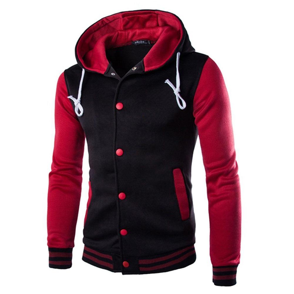 Men Fashion Slim Fit Sweatshirts Short Style Matching Color Tops Hoodies red_M