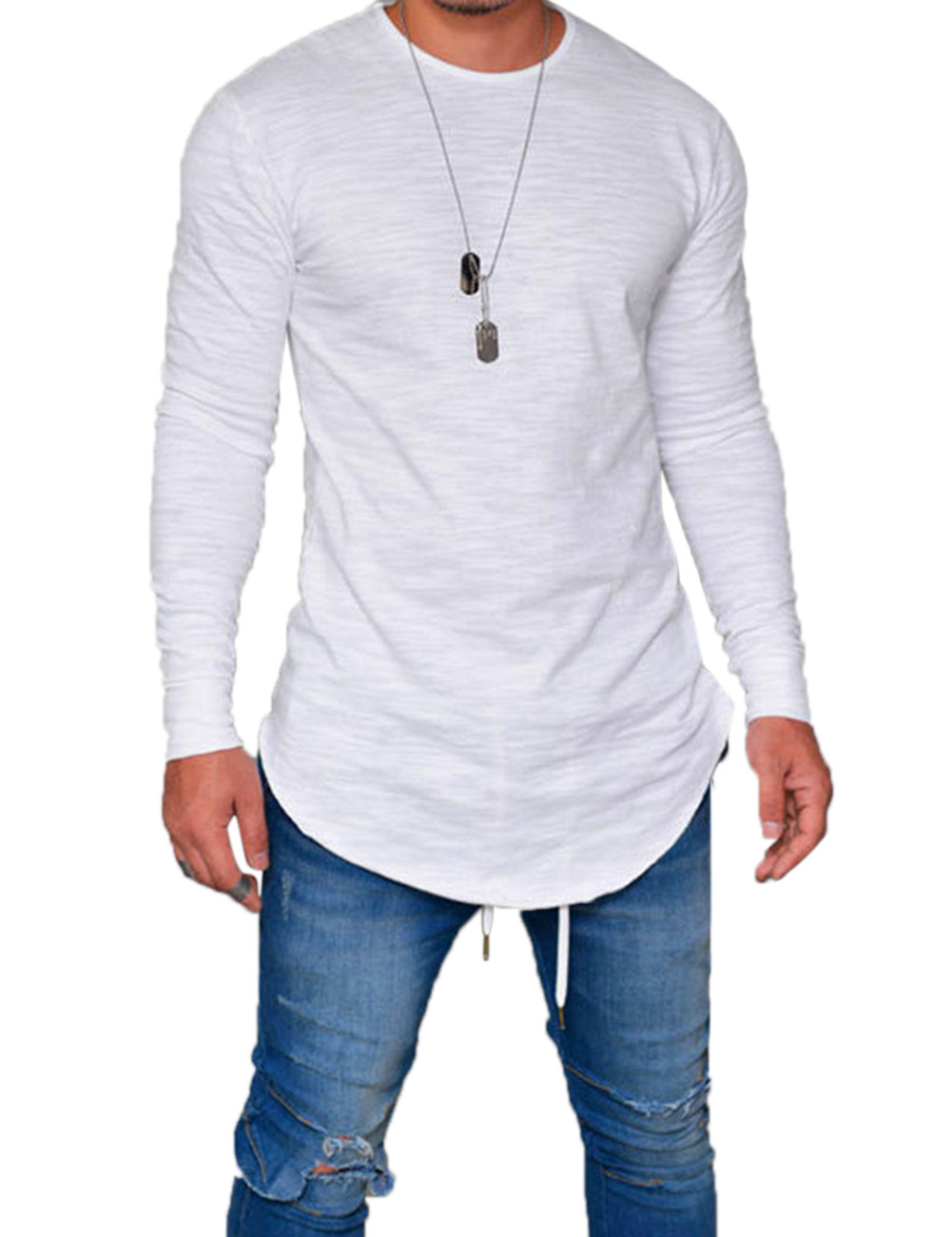 Men Round Neck Long Sleeve Tops Clothes