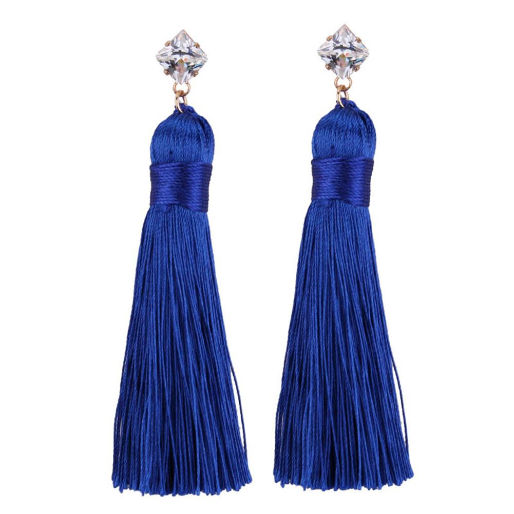 [EU Direct] Women's Bohemia Diamonds Dangle Earring Long Rope Tassels Temperament Eardrop