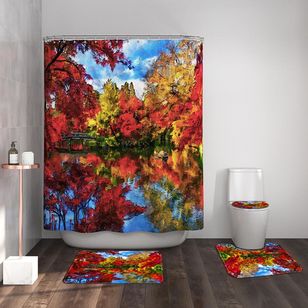 4pcs/set Bathroom Carpet Mat Shower Curtain Toilet Lid Cover Leaf Landscape Print Bathroom Set 439 #