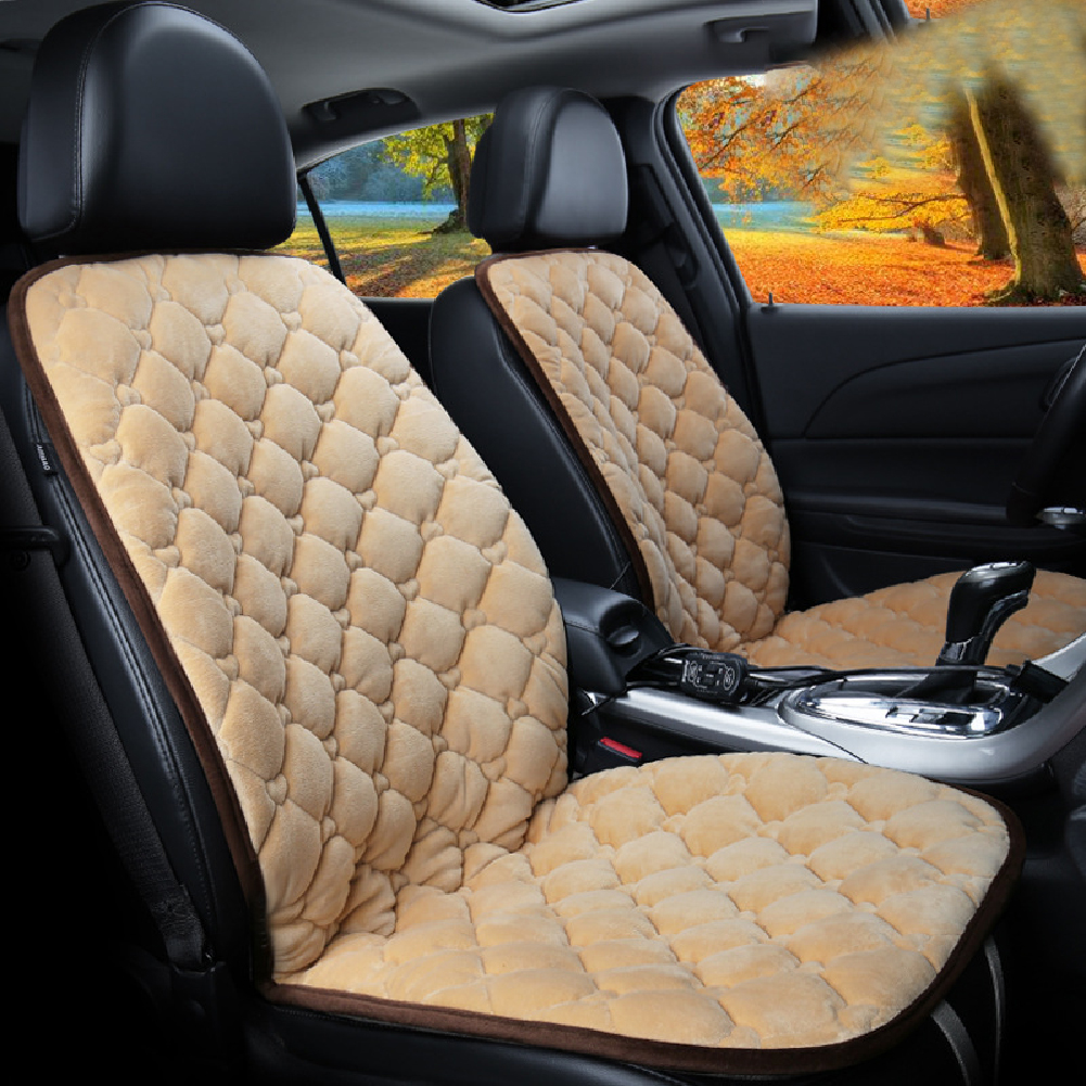 12V Heating Car Seat Cover Front Seat Cushion Plush Heater Winter Warmer Control Electric Heating Protector Pad Love beige-Two Seats