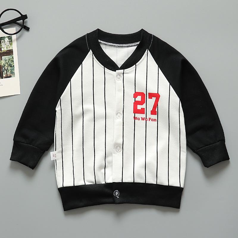 Kids Girls Boys Medium Long Color Matching Jacket Coat stripe_120cm