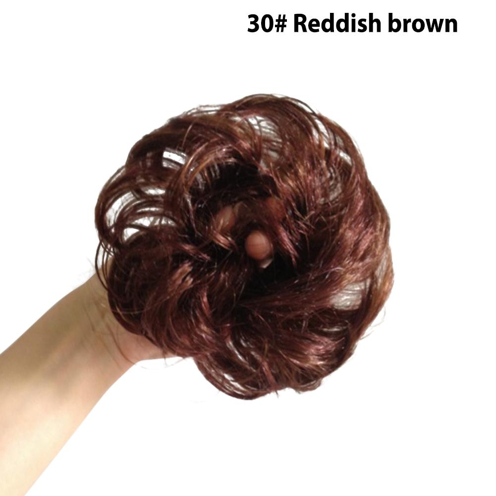 Kids Girls Hair Bun Extensions Wavy Curly Messy Donut Chignons Hair Piece Wig 30# reddish brown