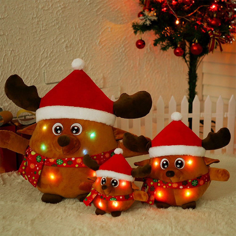 Children Santa Claus / Elk Dolls Glow Light Singing Stuffed Toys Christmas Gifts