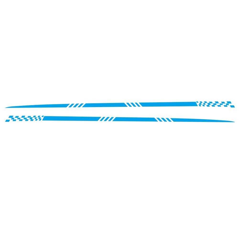 2pcs Universal Car  Sticker Body Side Stripe Hood Sticker Pvc For All Car Vinyl Bumper Decals blue