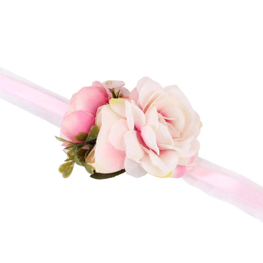 Simple Elegant Weave Flower Shape Bracelet Women Fashion Hand Chain for Bride Outdoor Wedding Photography Pink