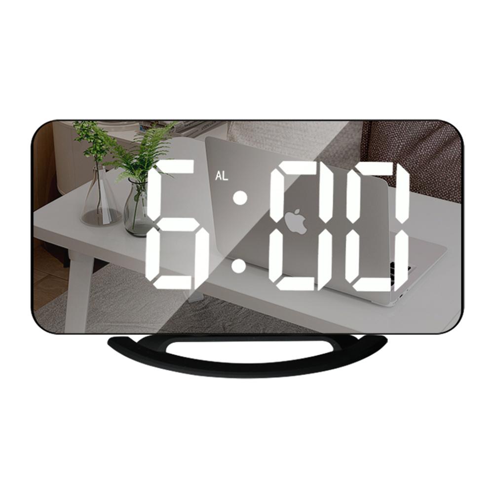 Multifunctional  Mirror  Clock Led Makeup Mirror Digital Alarm Clock For Household Living Room TS-8201-HW (black shell white light)