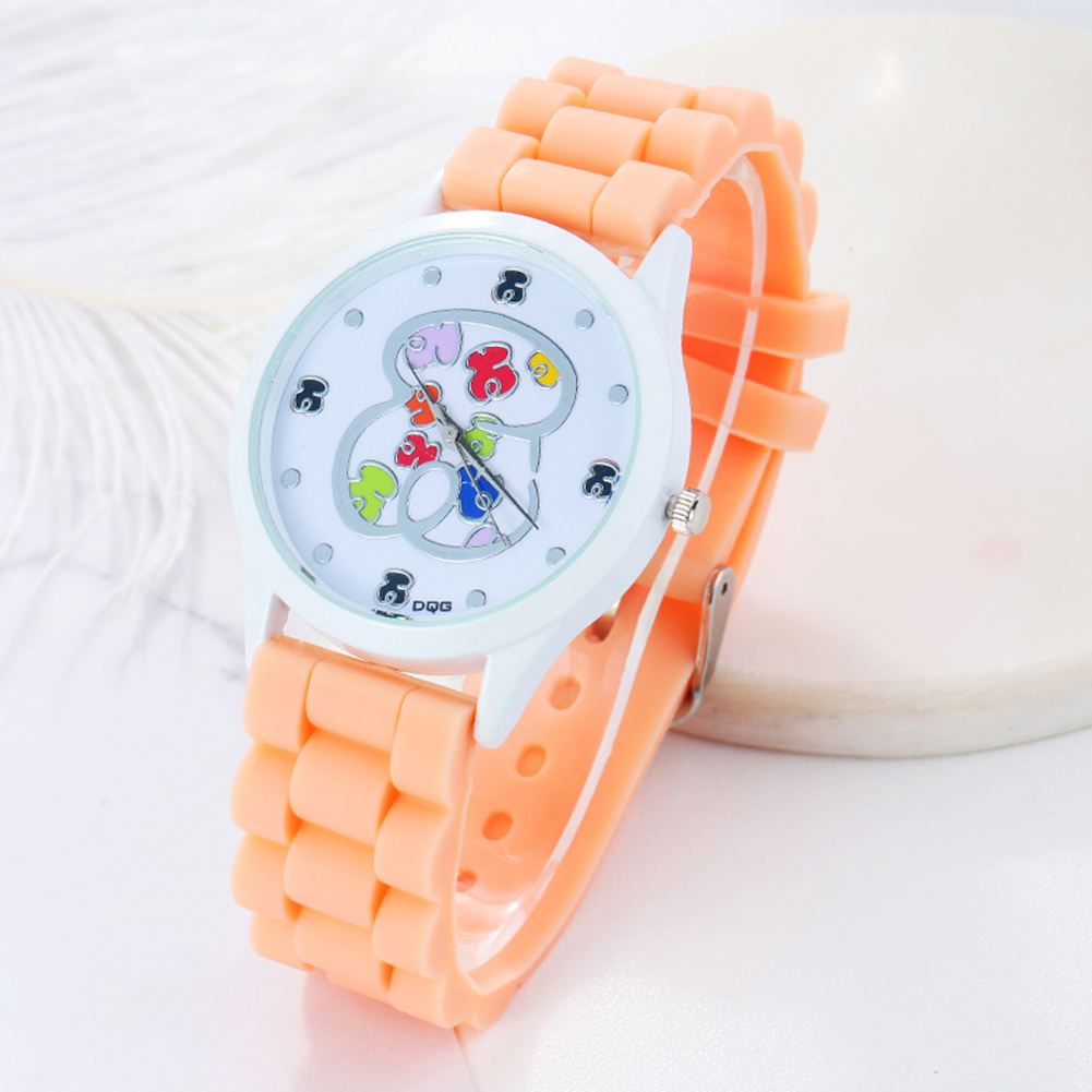 Children Kids Cute Cartoon Bear Dial Pattern Quartz Watch Silicone Watchband Wrist Watch