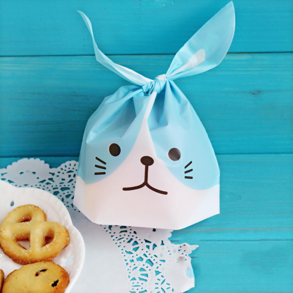 50pcs/set Cute Long Ears Bunny Packaging Bag Candy Cookies Moon Cake Bag