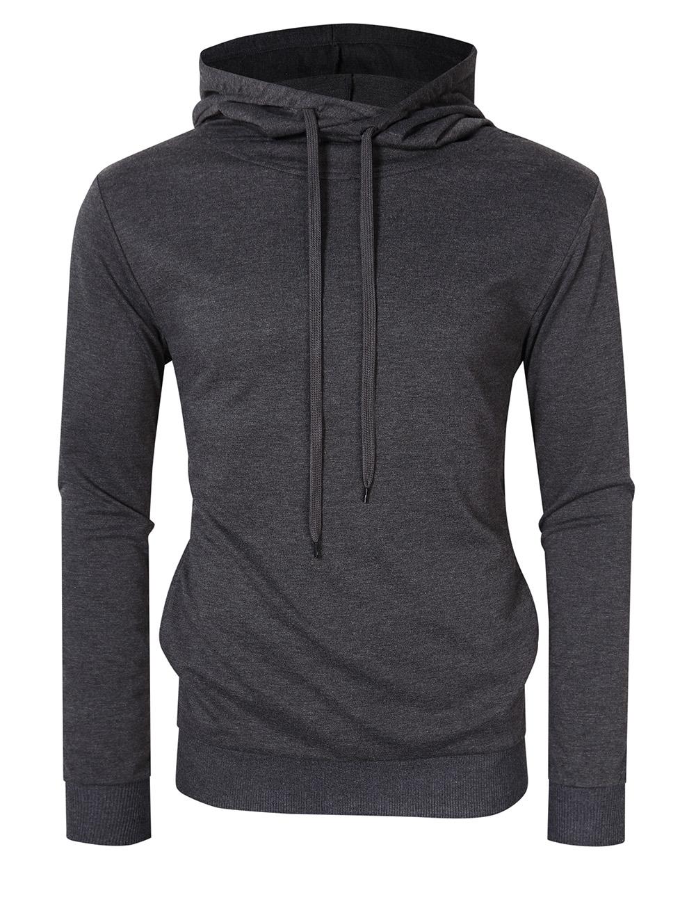 [US Direct] Yong Horse Men's Long Sleeve Pullover Hoodie Lightweight Hooded Sweatshirt Gray_2XL