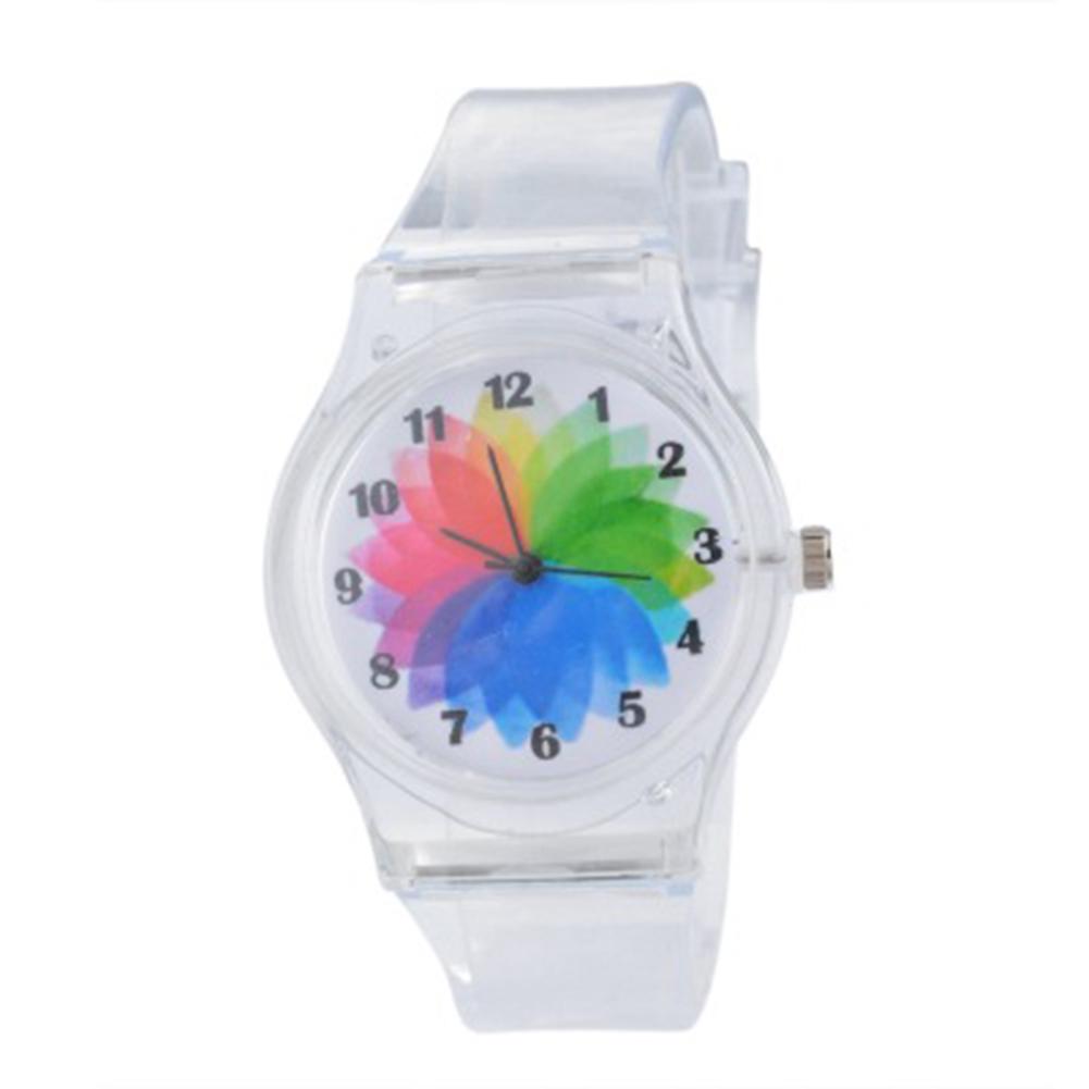 Women Quartz Trendy Sweet Watch Simple Stylish Transparent Band Wrist Watch Student Girls Wristwatch windmill
