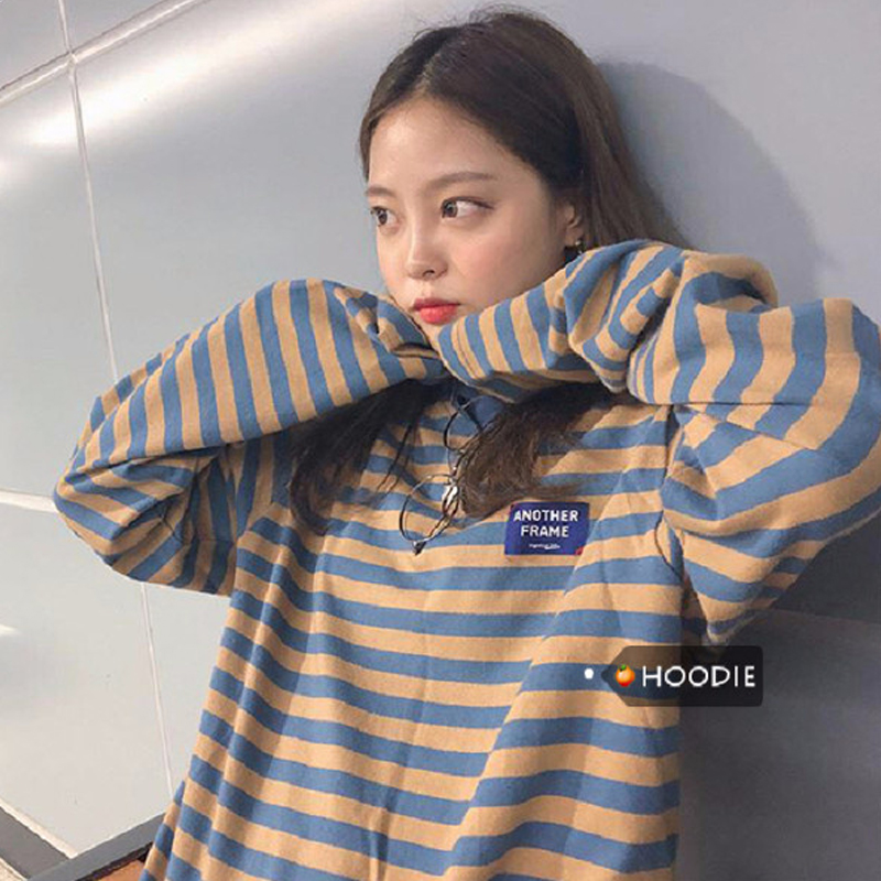 Women Retro Style Spring Autumn Round Collar Stripes Long Sleeve T Shirt Photo Color_XXL