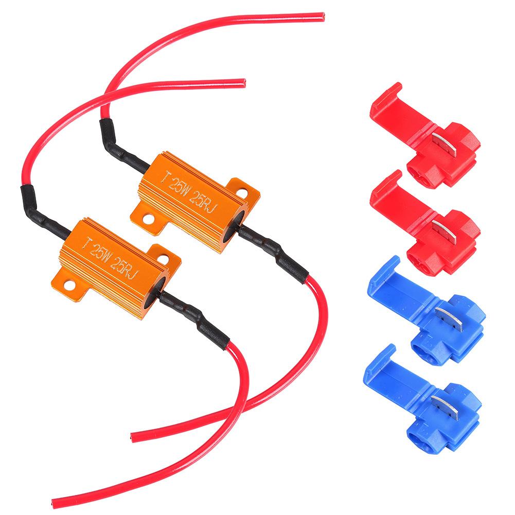 2pcs 25W 25ohm LED Load Resistor for Turn Signal LED License Plate Lights & DRL 25W 25ohm