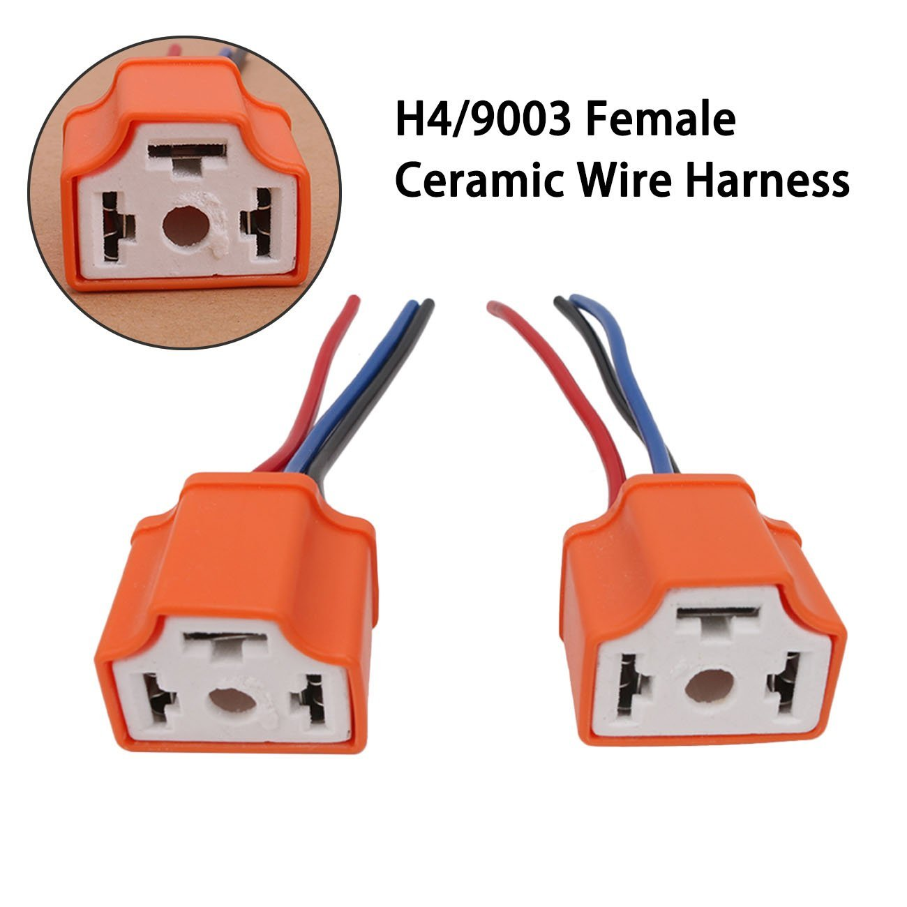 2Pcs Female Ceramic Headlight Extension Connector Plug Socket Wire Adapter for 12V Light Lamp Bulb