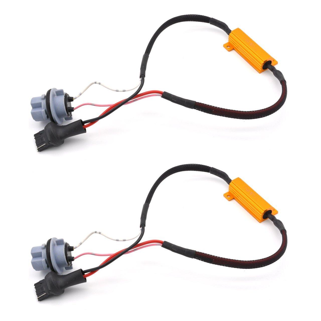 2pcs 50W 8ohm 7440 Led Load Resistors Connector Fix Turn Signal Bulb DRL Error Free Decoder