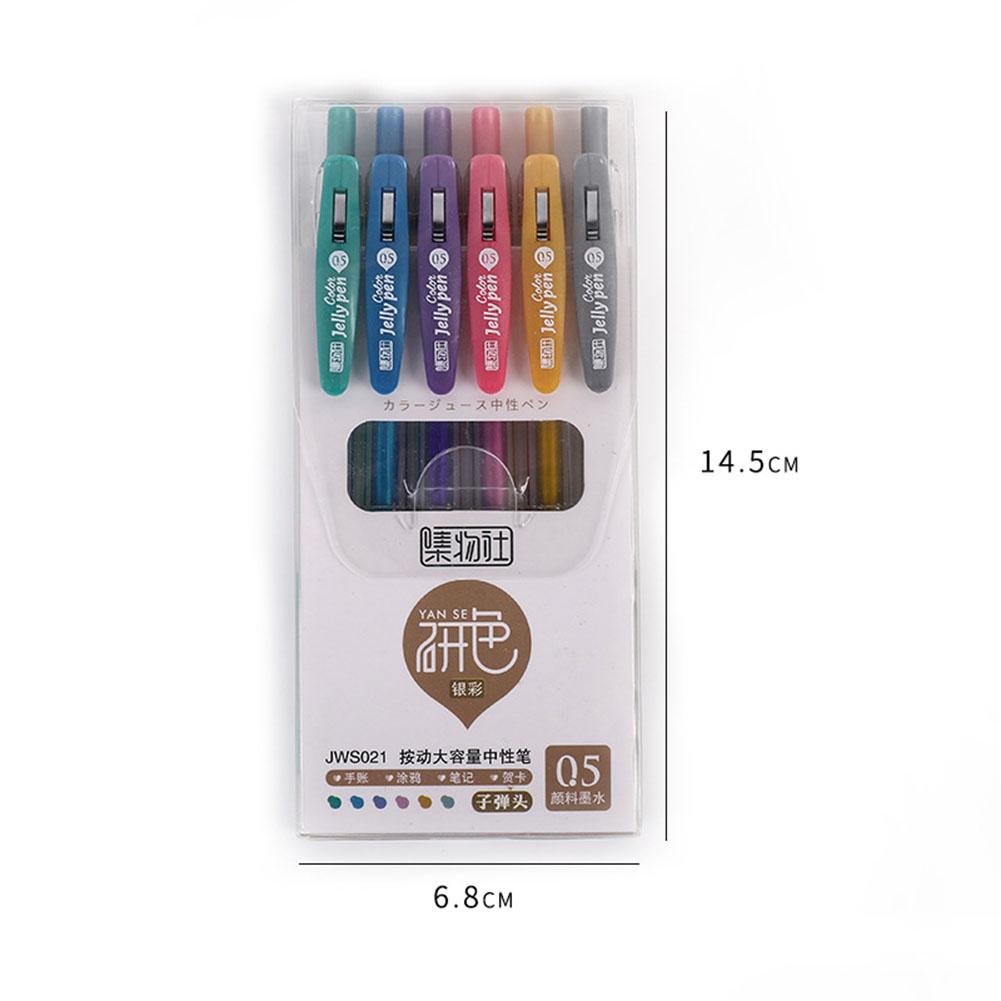 6Pcs/12Pcs Gel Pen with Black Refill Roller Ball Pen for Student School Stationery JWS021 silver color 6pcs box_0.5mm