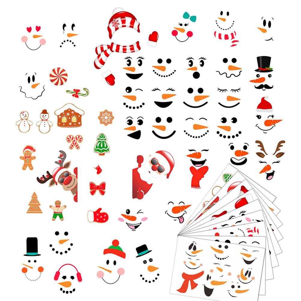 Christmas Wall Stickers Slef Adhesive Cartoon Snowman Pattern Window Room Decoration 9pcs/set