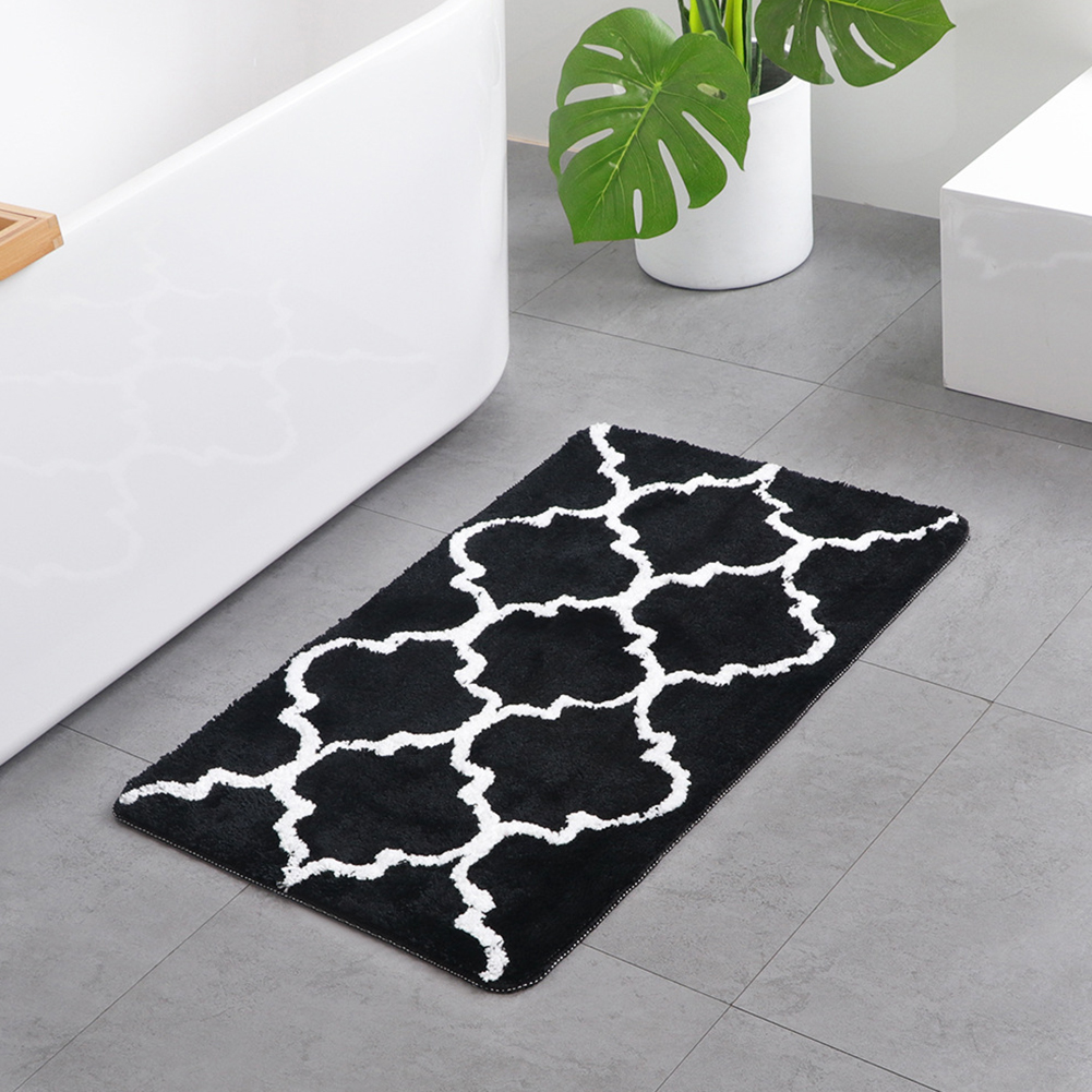 Water Absorption Flocking Surface Geometric Printing Mat for Living Room Bathroom