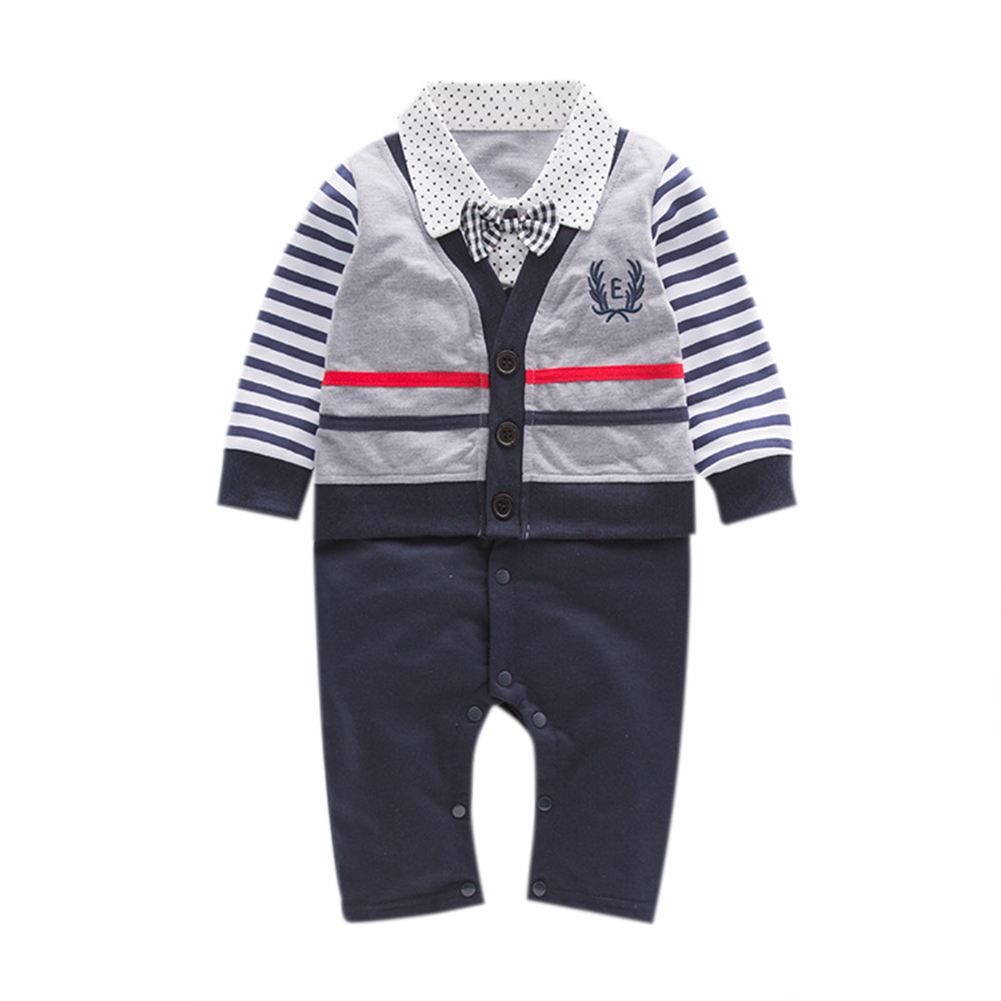 Cute Soft Cotton Baby Boys Romper Long Sleeve Overalls Bow Tie Gentleman Kids Jumpsuit Spring Autumn