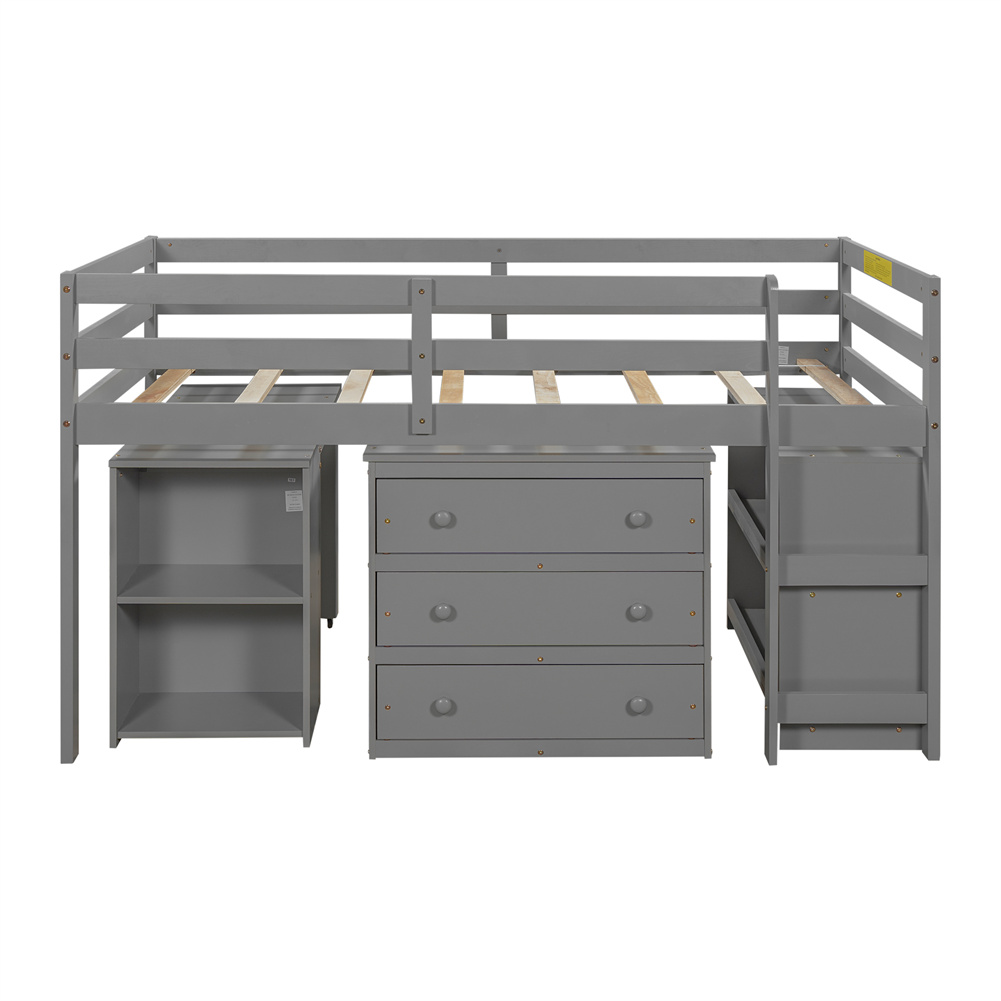 [US Direct] Twin Size Loft  Bed With Cabinet+detachable Portable Desk Household Furniture Gray