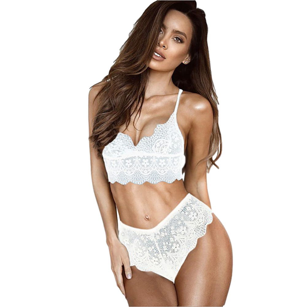 Women's Underwear Suits Sexy Breathable Lace Perspective Bra + Underpants white_L