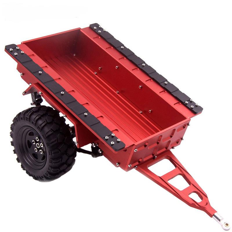 Aluminum RC Hitch Mount Trailer for 1/10 RC Rock Cralwer Car Axial SCX10 Traxxas TRX4 TAMIYA CC01 D90 Cars Hopper red