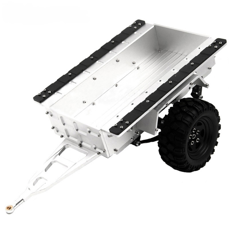 Aluminum RC Hitch Mount Trailer for 1/10 RC Rock Cralwer Car Axial SCX10 Traxxas TRX4 TAMIYA CC01 D90 Cars Hopper silver