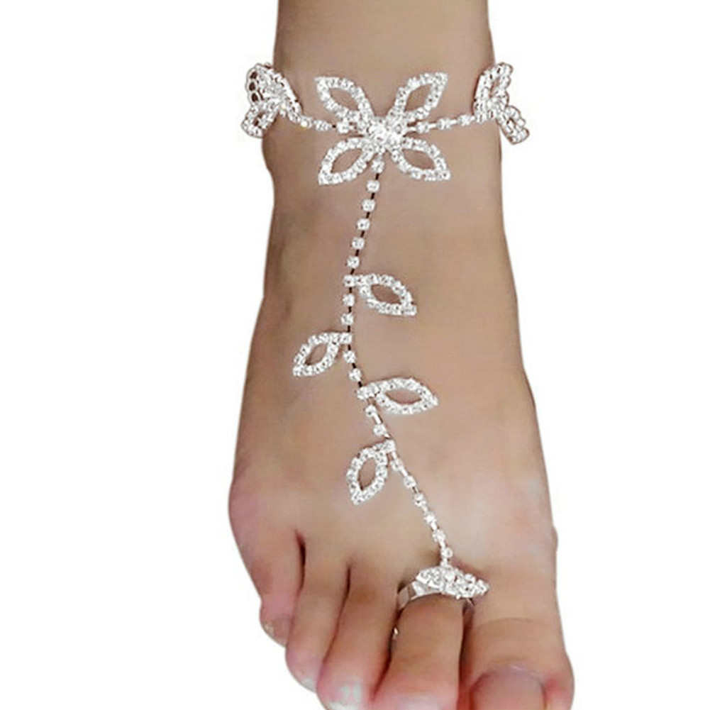 Women Lucky Clover Rhinestone Anklet Barefoot Sandals Beach Foot Chain Jewelry Accessory Circumference 8+4cm