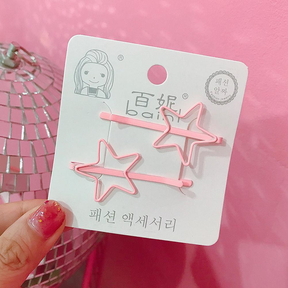 2 Pcs Korean Style Cute Women Grils Heart-shaped Pentagram Shaped Hair Clip Hair Decoration 10#