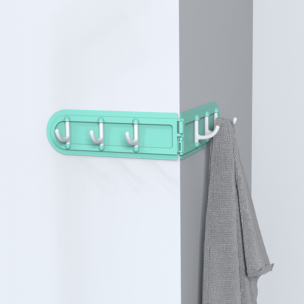 Wall Corner Hook Foldable Storage Rack Nail-free Key Hanger Wardrobe Bathroom Kitchen Organizer green_36.7 * 5.8cm