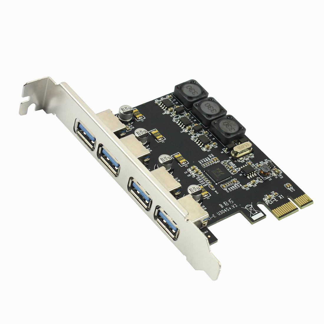 5Gbps 4-port USB3.0 PCI-E Expansion Card Adapter PCI Express USB 3.0 Driver for PCIe X1 X4 X8 X16 Port for Win 7/8/10