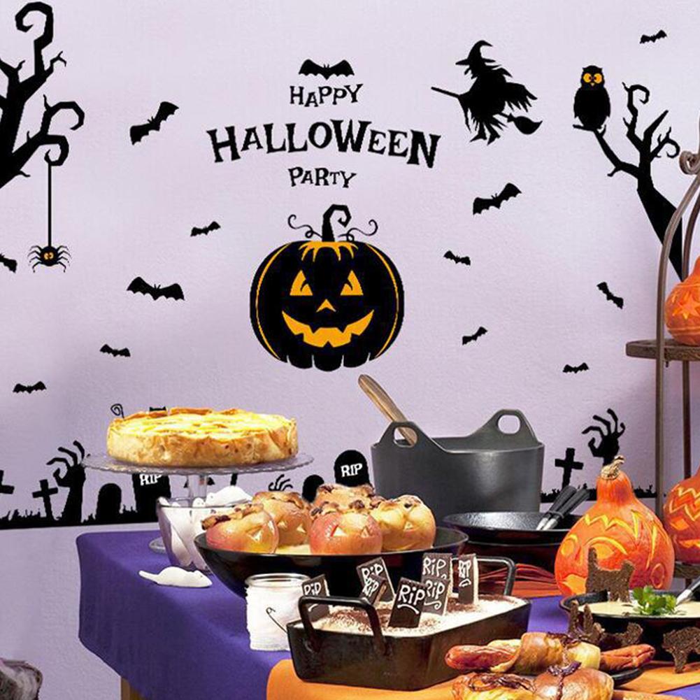 Halloween Witch Pumpkin Head Pattern Wall Sticker for Showcase Window Decor 60*90cm