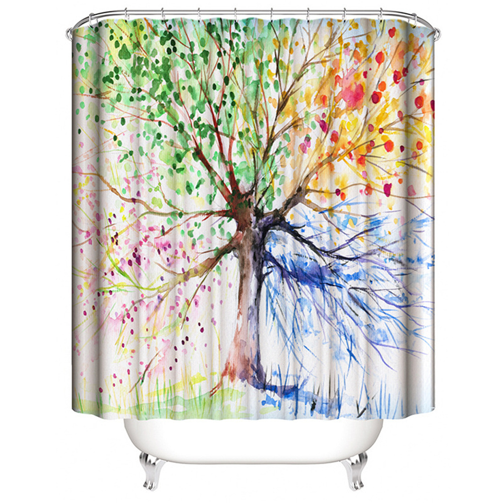 Digital Tree Printing Shower  Curtain Waterproof Cloth Fabric Bathroom Decor 150*180cm