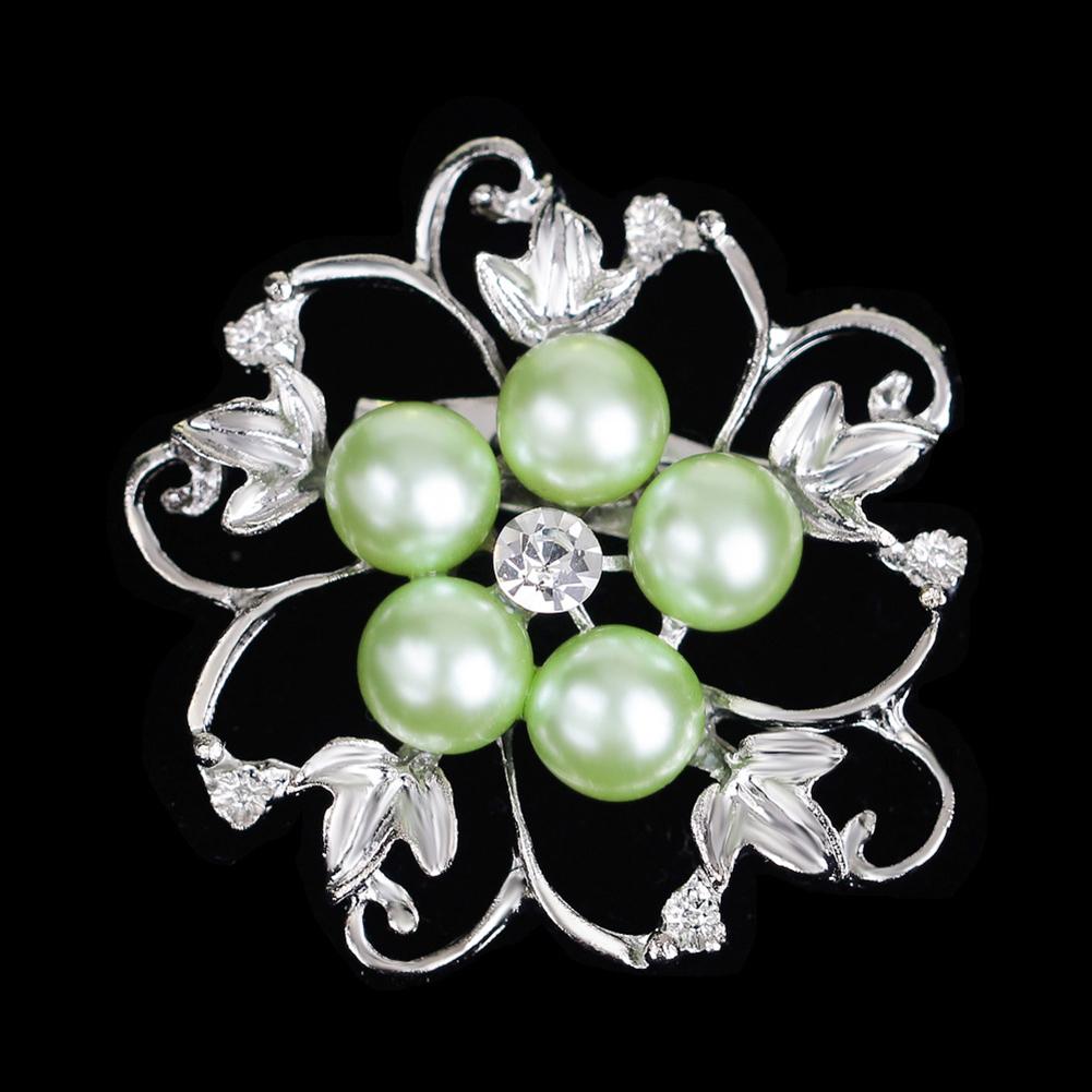 Fashion Alloy Crystal Pearl Bead Inlay Brooch Light green AA074-D